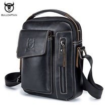 BULLCAPTAIN Genuine Leather Men Shoulder Crossbody Bags Cow Leather Fashion Handbag Brand Casual Men's Messenger Bag Black цена и фото