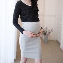 Брюшной solid стрейч вязаный хип шаг трикотажные юбки юбка беременных женский