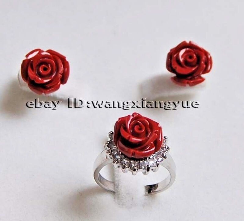 Charming!12MM Hand Carved Red Coral Flower Earrings /Ring Jewelry Set jade
