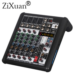 6 Channels Mixer Digital Audio DJ Console with 48V Phantom Power USB Slot for Recording Stage