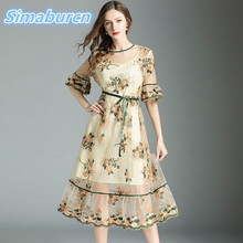 High Quality Summer Women Dress Half Sleeve VintageTemperament Female Floral Embroidery Robe Lady Perspective Dresses Clothing