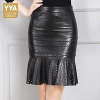 Шикарный выдалбливают Точка кожаный обруч юбки женщин высокой талии A Line Midi Юбки черный кожа высокого качества плиссированные юбки плюс раз