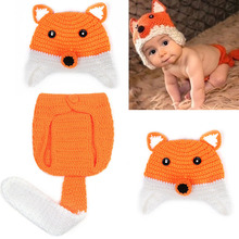 Baby Photo Props Studio Photography Props Newborn Crochet Outfit Cartoon Fox Costume Knit Hat Clothes With Tail Baby Accessories