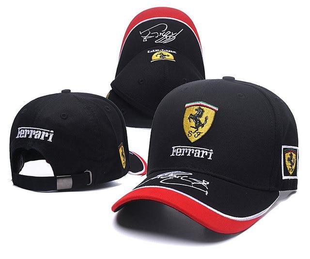 High quality new Ferraris logo black style Auto Logo Adjustable Embroidered  snapback hood Hat Mens Women Unisex f6c72bfee37