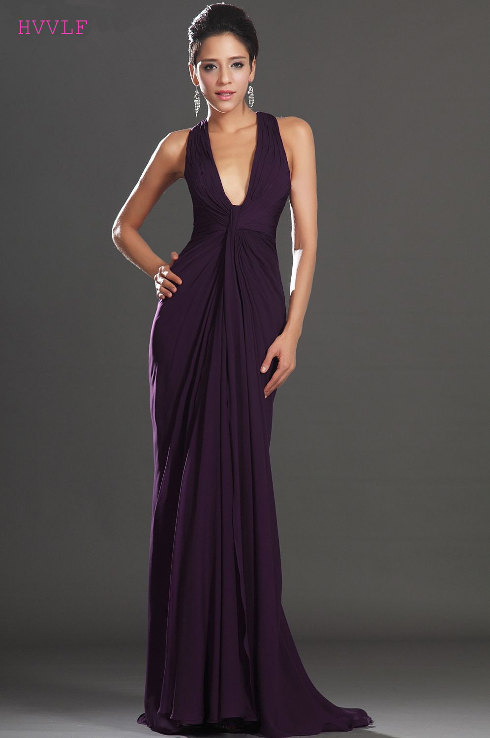 Purple Evening Dresses 2018 Mermaid Deep V-neck Chiffon Open Back ...