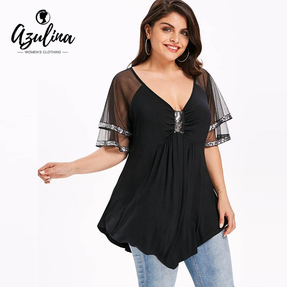 AZULINA Plus Taille Pailleté Maille Épaule Scintillant T-Shirt Femmes T-shirt 2018 V-cou Demi Manches Paillettes Tops T-shirts Dames Vêtements