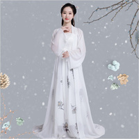 Summer sexy white Hanfu fairy princess dress girls chinese folk dance costumes tang dynasty chinese ancient clothing