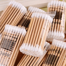 30 Pcs Double Head Cotton Swab Women Makeup Bamboo Cotton Buds Tip for Medical Wood Sticks Nose Ears Cleaning Health Care Tools(China)