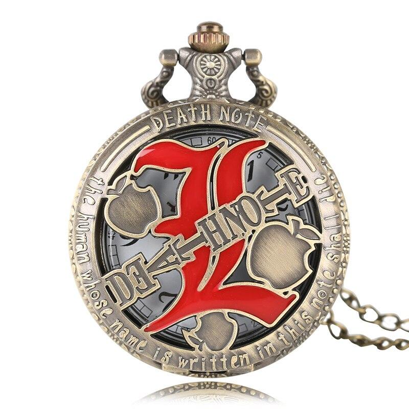 Fashion Watch Death Note Design Bronze Quartz Pocket Watches Vintage Stylish Necklace With Chain Men Women Clock Gifts Item