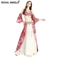 2019 Performance Women 3pcs Belly Dance Costume Set Bra+Long Skirt+Sleeves for Dance Girls 8839