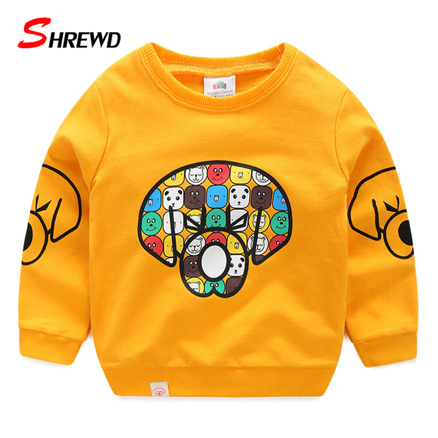 T-shirt Kids Boys 2017 Spring New Casual Cartoon Pattern Printing T Shirt Boy Long Sleeve O-neck Kids Clothes Boys 4899W
