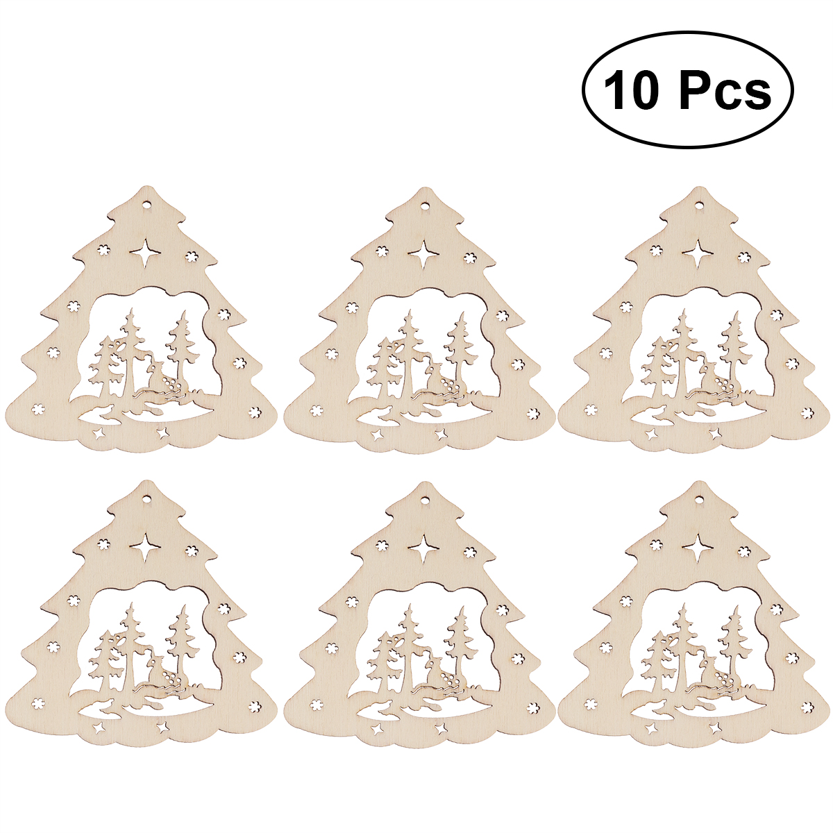 Christmas Tree Cutout.Us 1 68 39 Off 10pcs Christmas Tree Wooden Discs Diy Craft Decor Wood Cutout Slices Ornaments Christmas Tree Pendants Tags In Wood Diy Crafts From