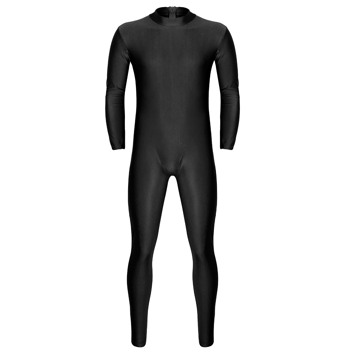 Mens Well Fit One Piece Leotards Long Sleeves Skinny Full-body Catsuit Adult Lycra Dancewear Bodysuit Gymnastics Workout Unitard 14