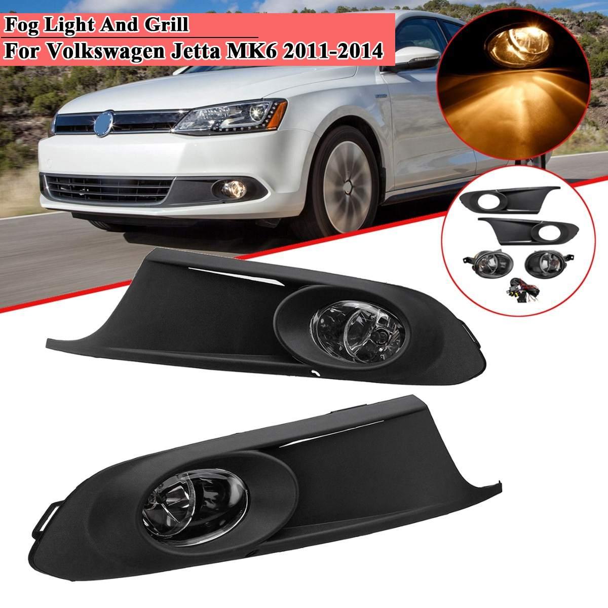 1 paire De Pare-chocs avant de Voiture Lampe D'antibrouillards avec Grilles Harnais Ambre pour VW Jetta MK6 2011 2012 2013 2014 Conduite Drl Phares