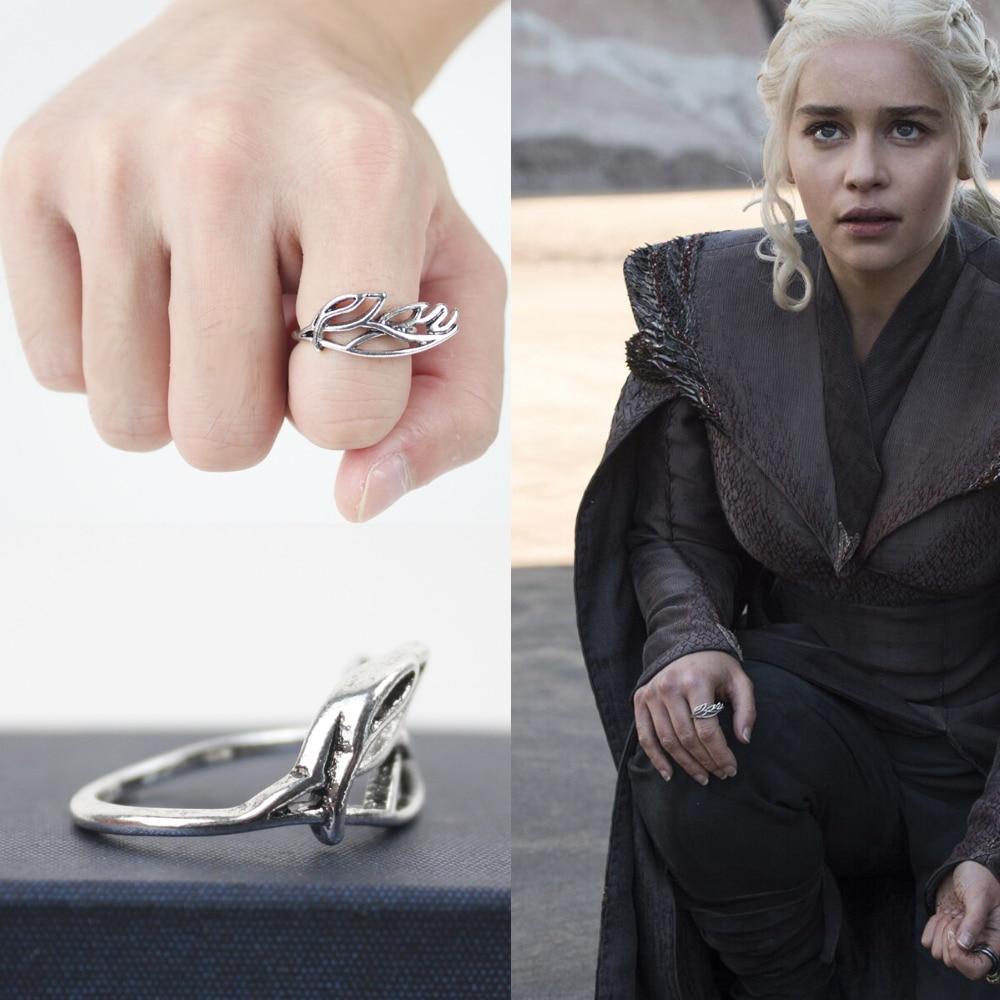 Game of Thrones Ring Daenerys Targaryen White Silver Plated Vintage Female Rings Gift For Women Cosplay Prop Gift box packaging