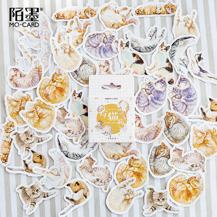 45pcs/pack Cute Cats Decorative Paper Stationery Stickers Scrapbooking Stick Label Diary Stationery Album Stickers