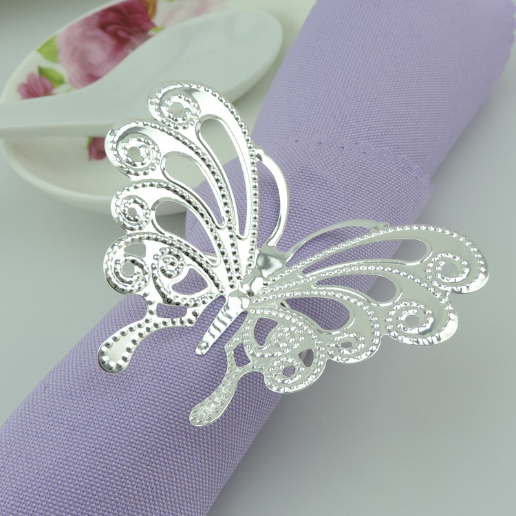 100pcs/lot Hollow metal butterfly buckle napkins, napkin rings hotel restaurant wedding table accessories (gold, silver)