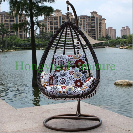 Black Rattan Hammock Chair Stand Furniture With Cushions