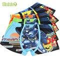 5 unid/lote cómoda de algodón para niños ropa interior super hero baby calzoncillos boxer briefs niños ropa interior pantalones de los niños para 3-11 y