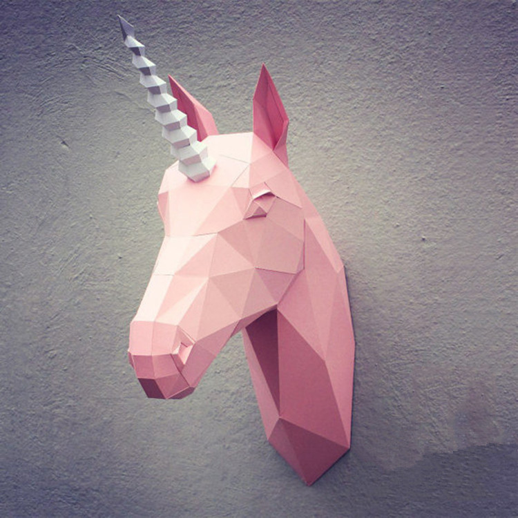 3D Paper Model Diy Unicorn Origami Wall Art Papercraft Animal Toys Partydecor Home Decoration Party Puzzles Eductional Toys
