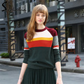2017 New Autumn Winter Knitted Pullovers Sweater Women Fashion Striped Hit color hedging Sweaters Girls Camisola Dark Green Red