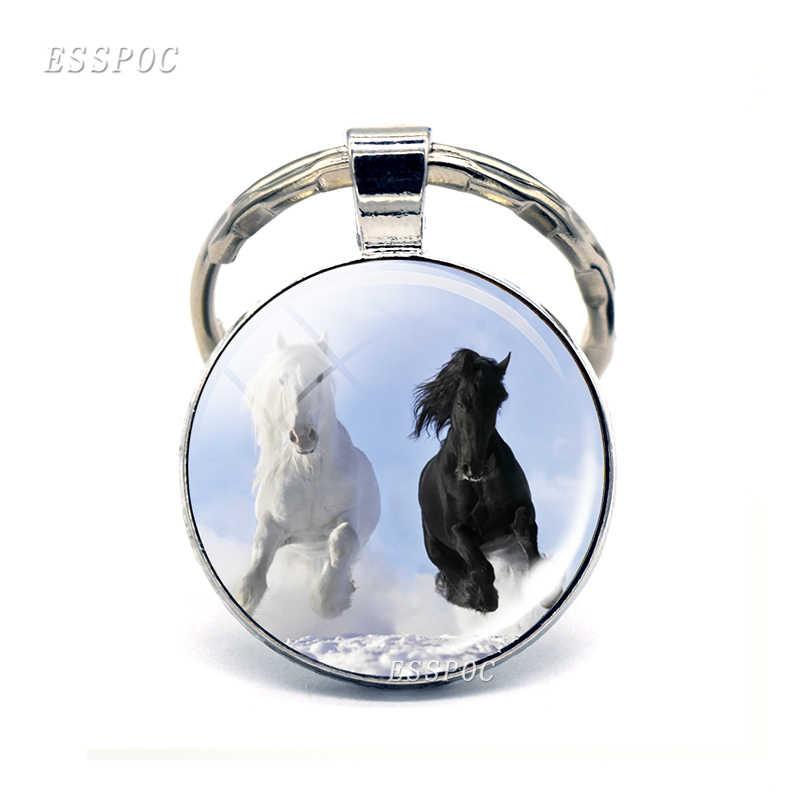 Лошади серии Стекло брелок с кабошоном металлический брелок автомобиля брелок модные аксессуары для Для мужчин Для женщин подарок на день Святого Валентина, любителей лошадей