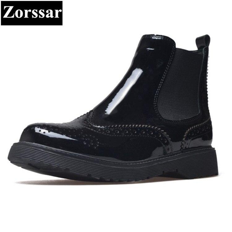 a9a7476e66ec3a black Bottes Talon Patent Femme Plat Cuir Femmes 2018 En {zorssar} Leather  Style Britannique Martin Chelsea Chaussures Noir De Nouveau ...