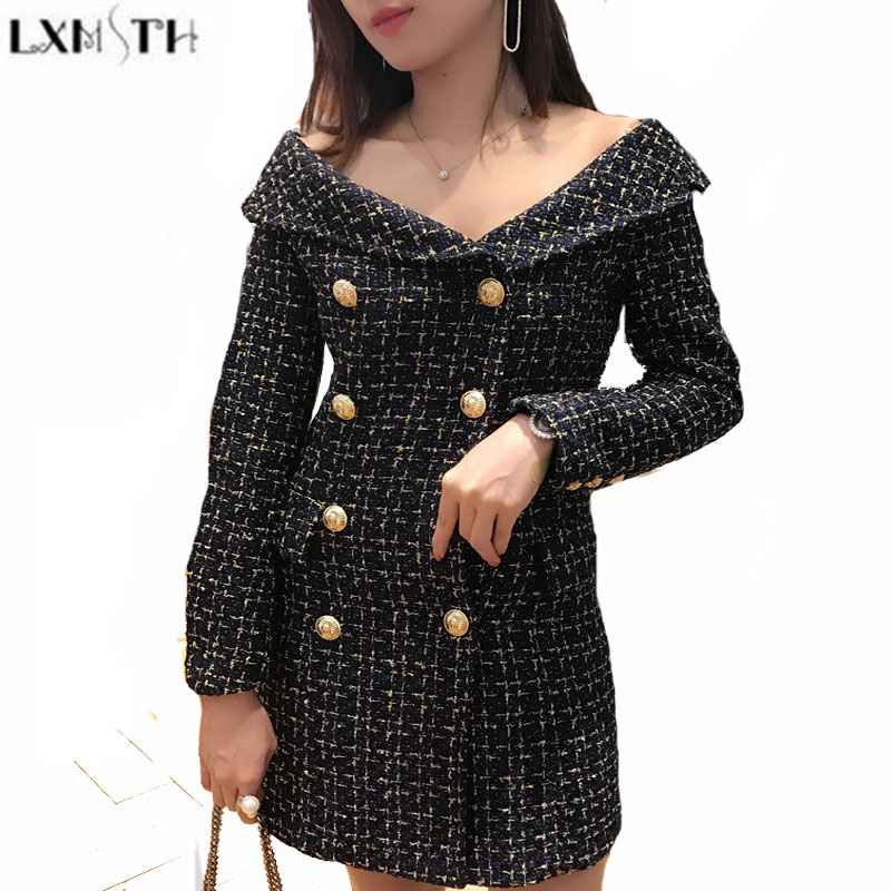 LXMSTH Woolen Dresses For Women New Fashion Double Breasted Off Shoulder Dress Long Sleeve Ladies Sexy Slim Tweed Dress Quality