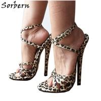 Sorbern 18Cm Stiletto Fetish Sandal High Heels Knot Sexy Mistress Tie Strap Cheetah Leopard Night Club Party Heels Slingbacks