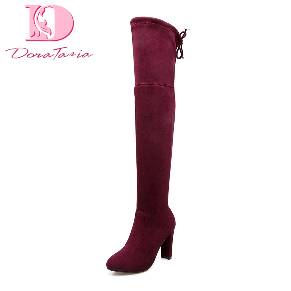 Doratasia Brand new Large Size 34-43 Slip On Black Gray Shoes Woman Boots Winter drosphip High Heels Over The Knee Boots Female