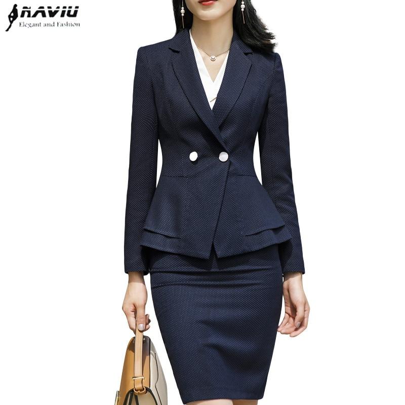 New fashion women skirt suits OL formal elegant long sleeve slim dot blazer and skirt office