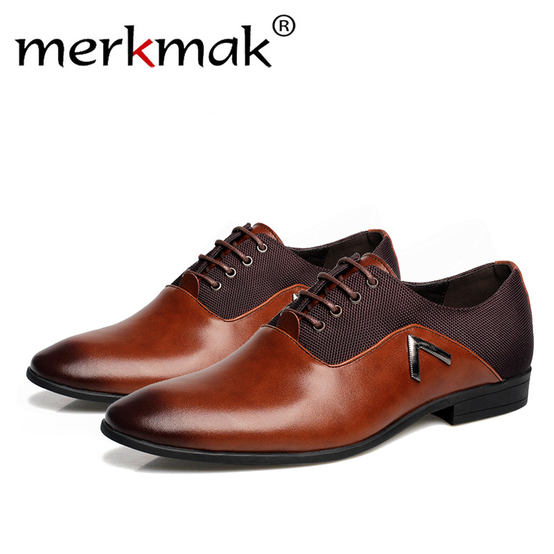 Merkmak Luxury Brand Men Shoes England Trend Casual Leather Shoes Breathable For Male Footwear Loafers Men Flats Big Size 38-47