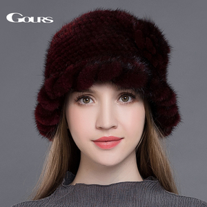Image 5 - Gours Pelz Hüte für Frauen Gestrickte Natürliche Nerz Fedoras Dicke Warme In Winter Beanies Caps Fashion mit Floral Neue ankunft