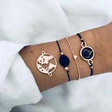 4 PCS/Set Retro Bracelet Bangle Set For Women Hrart Map Deer Adjustable Summer DIY hand Jewelry Gift DropShipping недорого