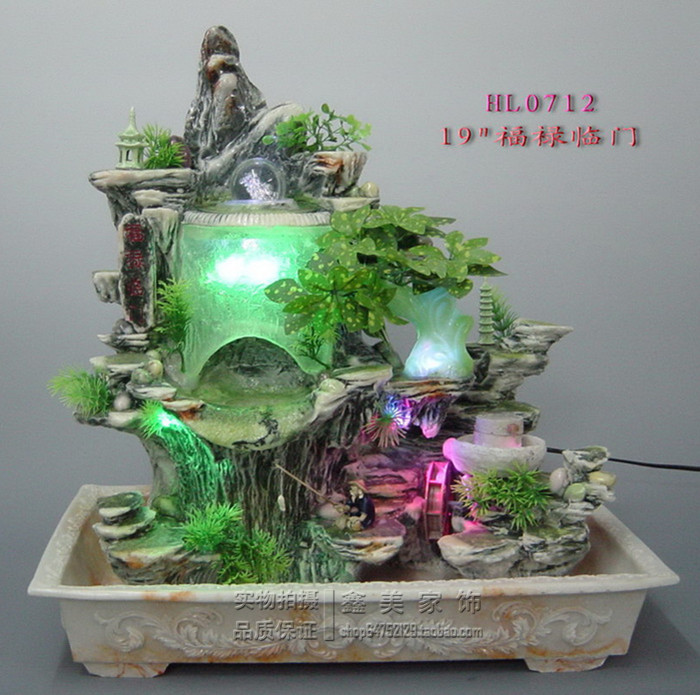 Indoor Water Fountains Resin Grinding Bonsai Rockery