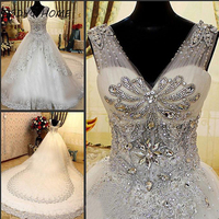 Luxurious White Wedding Dresses 2017 Crystal Lace Diamond Bling With Back Up Luxury Wedding Gowns Hot