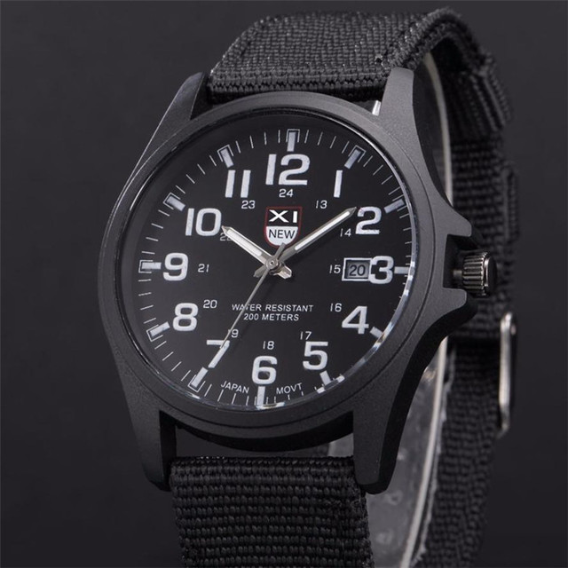 XINEW Band Hot Sell Outdoor Mens Date Stainless Steel Military Sports Analog Quartz Army Wrist Watch Dropshipping 0803 5