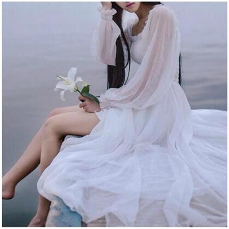 White Beach Dress Fashion Women Lantern Sleeve Fairy Chiffon Princess Dress High Wait Loose Casual A Line Long Holiday Vestidos