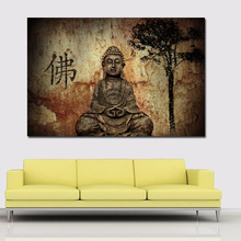 HD Prints Vintage Painting Chinese Buddha On Canvas Home Decoration Wall Art Paintings For Living Room,Bedroom