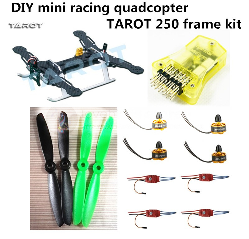 DIY FPV mini drone race quadcopter Tarot 250 frame + mini CC3D + 1806 2400KV motor + Simon K 12A ESC + 5045 ABS propellers diy mini drone qav210 zmr210 fpv race quadcopter pure carbon frame kit cc3d emax 2204ii kv2300 motor bl12a esc run with 4s