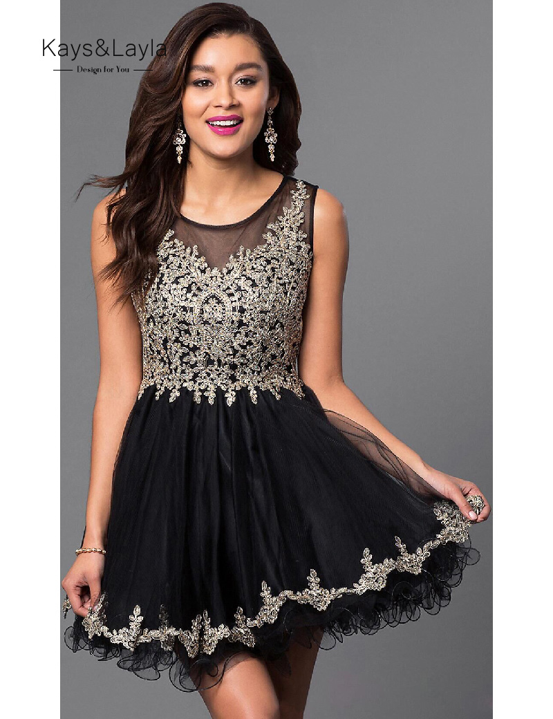 Elegant Tulle Appliques Homecoming font b Dresses b font Short Above Knee Black font b Cocktail