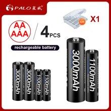 Пало 2 шт. 1,2 в 3000 мАч AA батареи + 2 шт. 1,2 в 1100 мАч AAA батареи Ni-MH AA/AAA перезаряжаемые батарея для камера игрушка