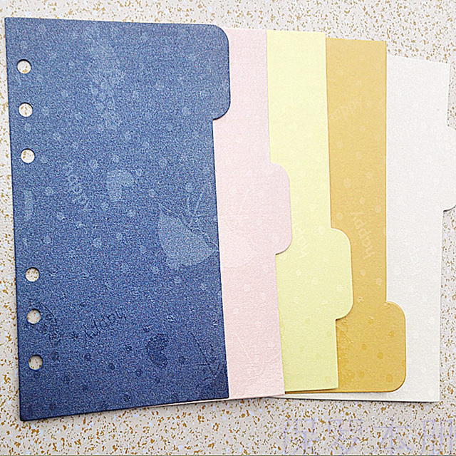 Gold card page inner core notebook Binder Index Dividers paper DIY - notebook binder