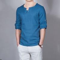Sommer Neue Männer Leinen einfarbig t shirt Mode Persönlichkeit Design Beiläufige Dünne Atmungs Kühlen Langen Ärmeln Geschäfts t-shirt