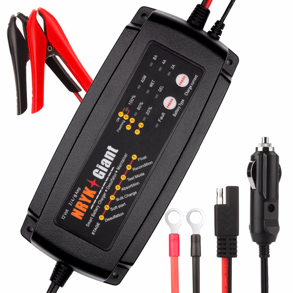 24V 1A/2A/4A Selectable Smart Car Battery Charger 7-Stage Maintainer & Desulfator For AGM GEL WET Batteries 6-160AH