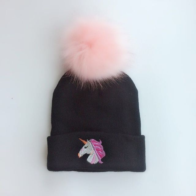 cap for girls spring winter unicorn Toddler infant Kids newborn photography  props baby raccoon Faux Fur 4218d02adff