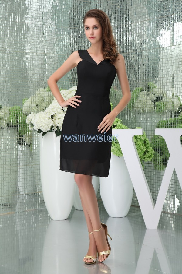 free shipping 20136 new hot design v-neck brides maid gown custom size/color short balck strap sexy black chiffon   Cocktail     Dress
