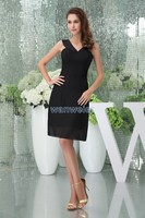 free shipping 20136 new hot design v neck brides maid gown custom size/color short balck strap sexy black chiffon Cocktail Dress