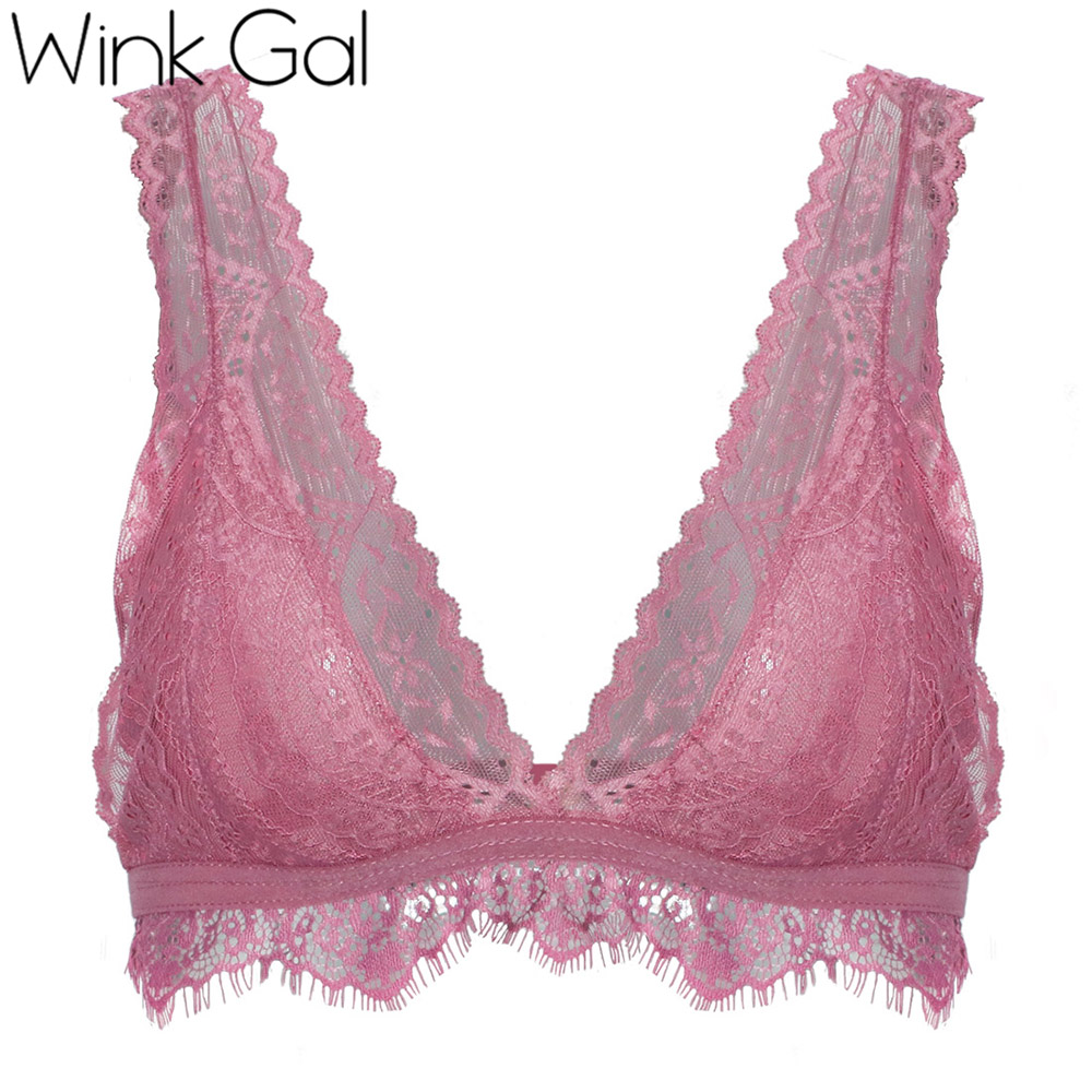 e1052b89c3122 Wink Gal New Lace Bralette Sexy Plunge Lingerie For Woman Big Size Female  Bra Unpadded Transparent Halter Brassiere 12298