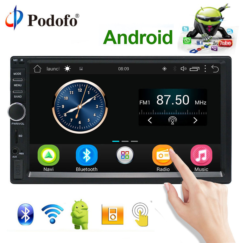 Podofo Авто Радио 2 Din Android gps навигация автомобиля Радио Стерео 7 Мультимедиа Универсальный Автомобильный плеер Wi-Fi Bluetooth USB аудио
